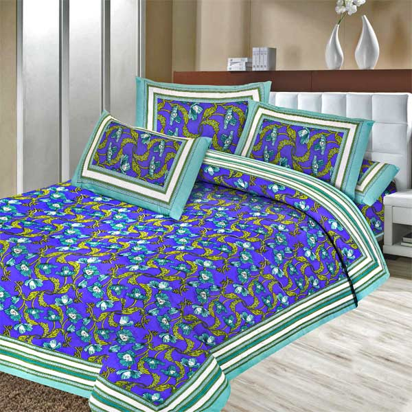 Pure Cotton Majorelle Blue Floral Print Double Bedsheet Set
