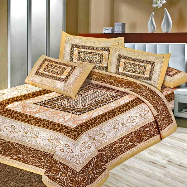Pure Cotton Traditional Textured Print Double Bedsheet Set