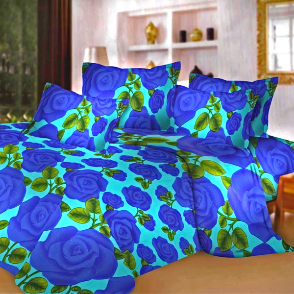 Pure Cotton Double Bedsheet Set with Blue Roses Design