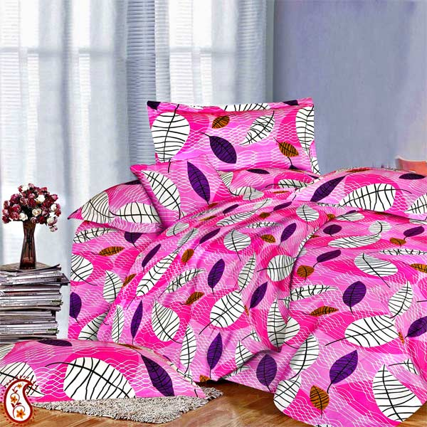 Cotton & Satin Pink Double Bedsheet Set