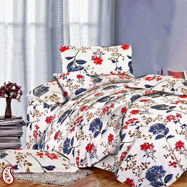 Cotton & Satin Floral Print on White Double Bedsheet Set