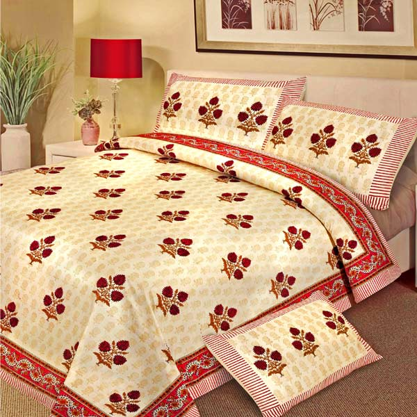 Camoes Red Pure Cotton Block Print Double Bedsheet