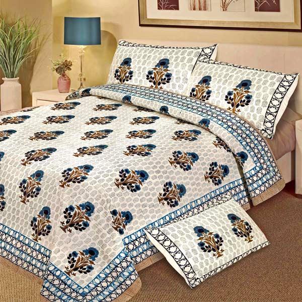 Lush Floral Pattern Block Print Double Bedsheet