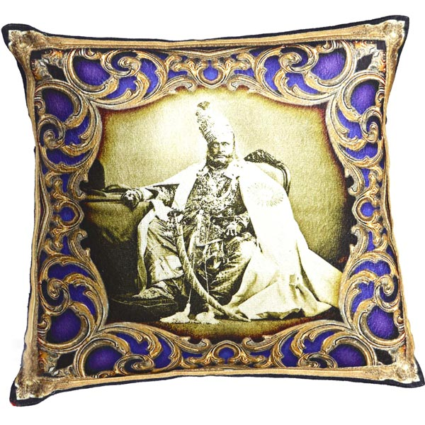 Royals of Rajastani Digital Print Poly Velvet Cushion Covers