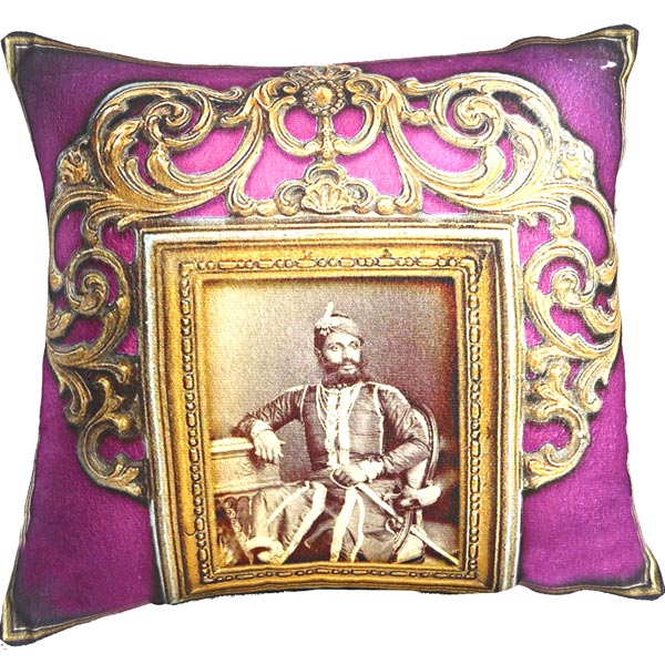Rajas of Rajastani Digital Print Poly Velvet Cushion Covers