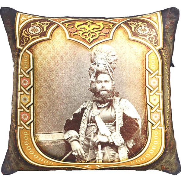 Poly Velvet Digital Print Cushion Cover with Raja of Rajastani