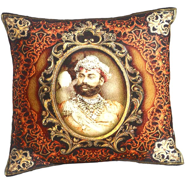 Multicolor Digital Print Poly Velvet Cushion Cover of Raja of Rajastani
