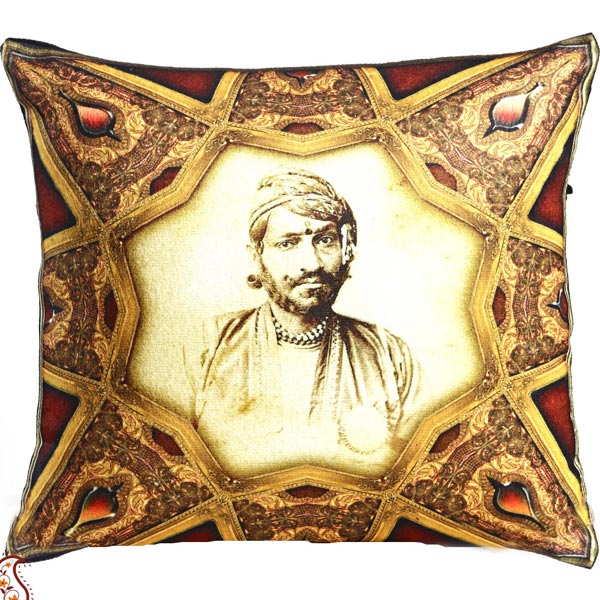 Royal Rajastani King Digital Print Poly Velvet Cushion Cover