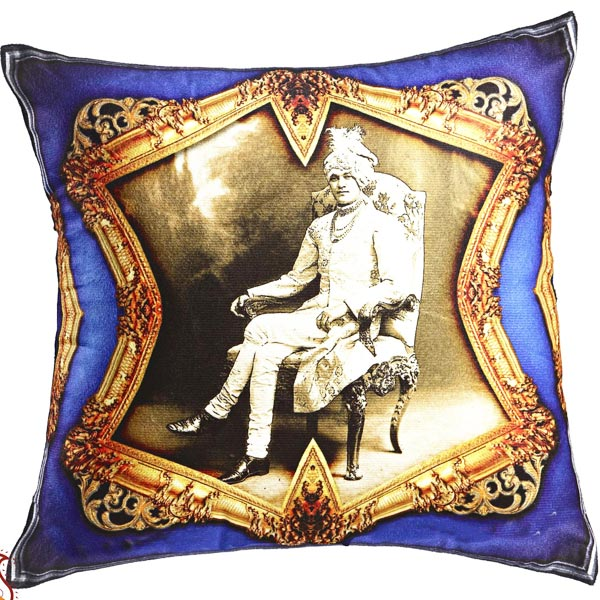 Raja of Rajastani Digital Print Poly Velvet Cushion Cover