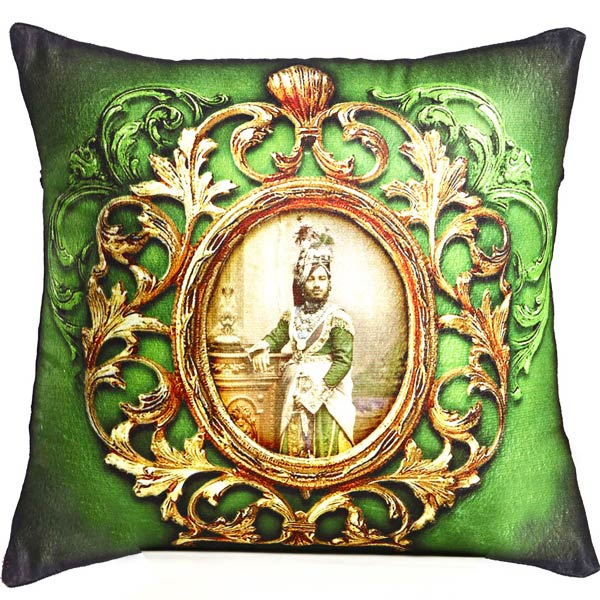 Green Poly Velvet Digital Print Cushion Cover