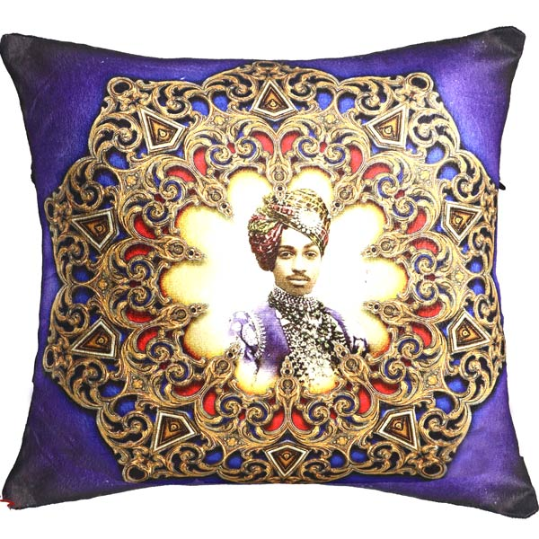 Purple Poly Velvet with Digital Print Prince of Rajastani