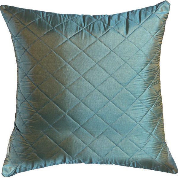 Teal Green Quilted Poly Silk Decorative Cushion Cover Set