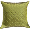 Olive Green Quilted Poly Silk Decorative Cushion Cover Set