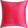 Bright Red Quilted Poly Silk Decorative Cushion Cover Set