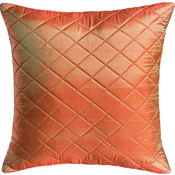 Rust Brown Quilted Poly Silk Decorative Cushion Cover Set