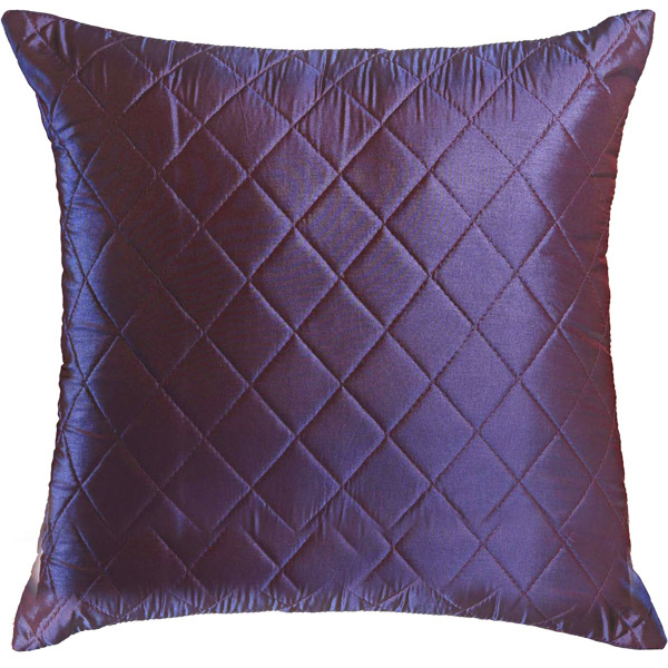 Mid Night Blue Quilted Poly Silk Decorative Cushion Cover Set