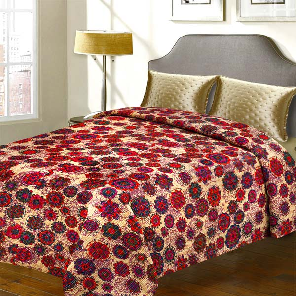 Multicolored Floral print Katha Work Cotton Double Bed Cover