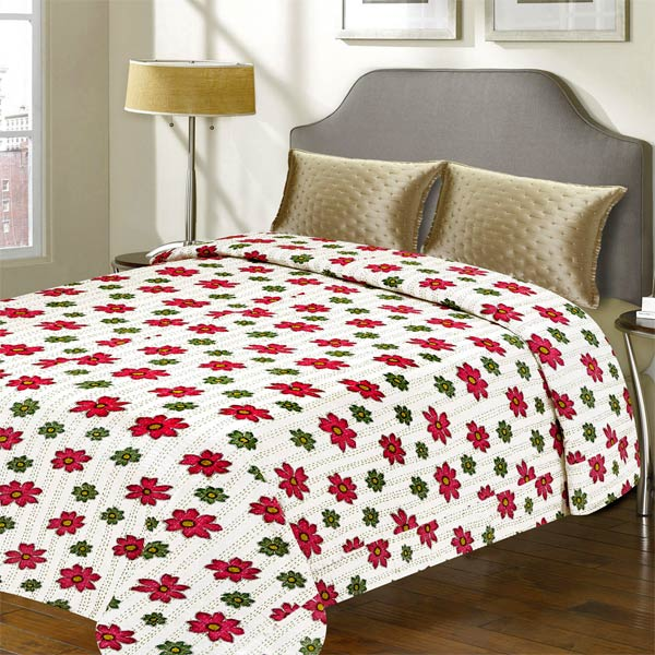 White & Red Floral Print Katha Work Cotton Double Bed Cover
