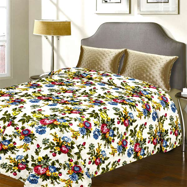 Pure Cotton Floral Print Katha Work Double Bed Cover