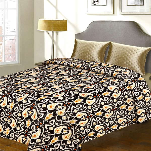 Black Cotton Ultimate Textured Katha Work Double Bed Cover
