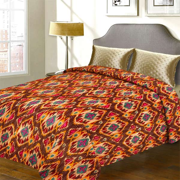 Traditional Textured Print Pure Cotton Double Bed Cover with Katha Work