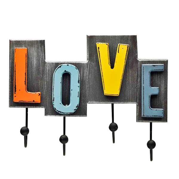 Love Lettering Hooks Crafted in Alloy Metal with Rustic Finish