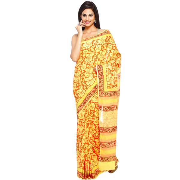 Saffron and Maize Yellow Marigold Print Pure Cotton Saree