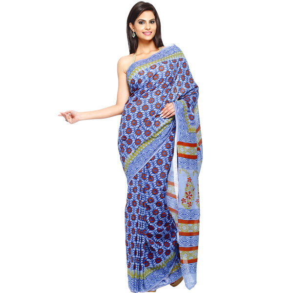 Majorelle Blue, Purple Block Printed Pure Cotton Saree