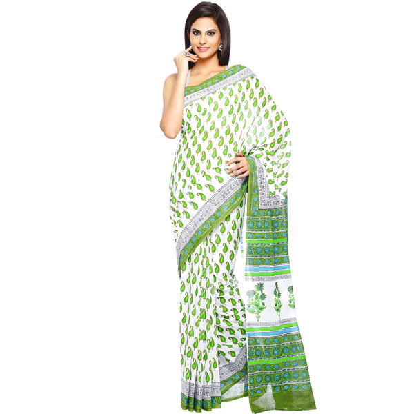 Mantis Green Keri Design Pure Cotton Block Print Saree