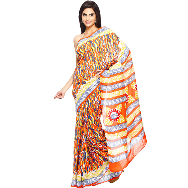 Multicolor Canvas Print Pure Cotton Hand Block Print Saree