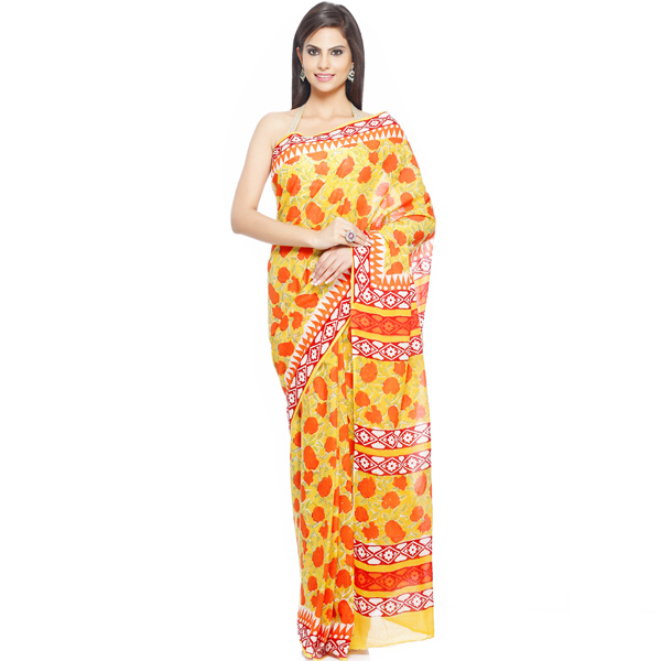 Pop Rose Orange and Citron Yellow Pure Cotton Saree