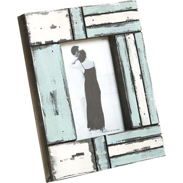 White and Blue Matte Contour Wooden Picture Frame
