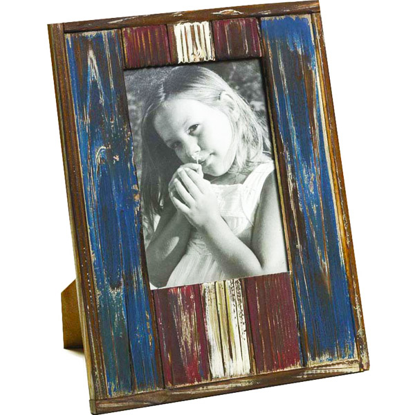 Red and Blue Rustic Finish Wooden Photo Frame with Matte Finish