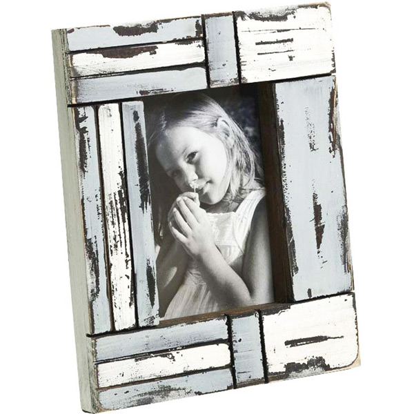 White and Blue Matte Contour Wooden Photo Frame