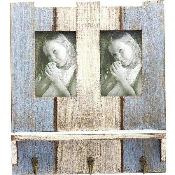 Wooden Blue Photo Frame with Key Hooks
