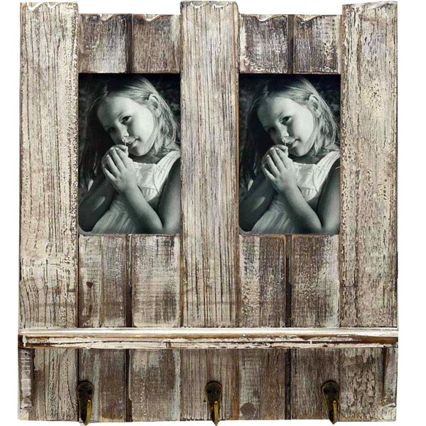 Natural Look Wooden Photo Frame with Key Hooks