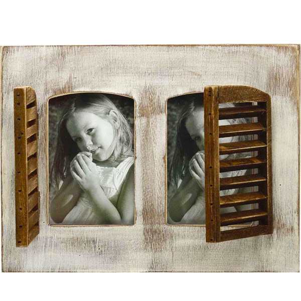 Windows Double Photo Frame Made with Wood