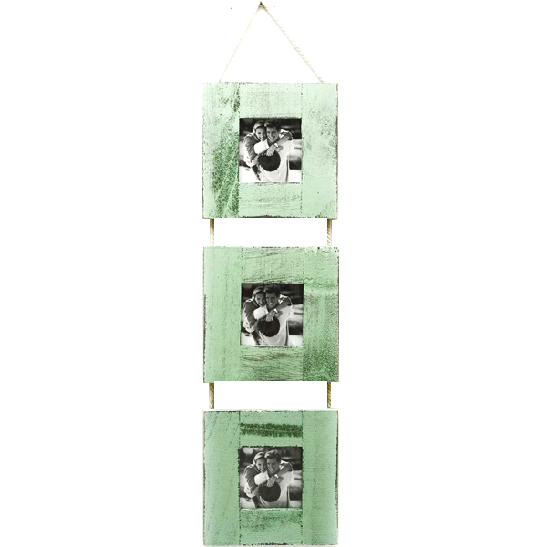 Three Level Green Wooden Photo Frame with Rope Accent