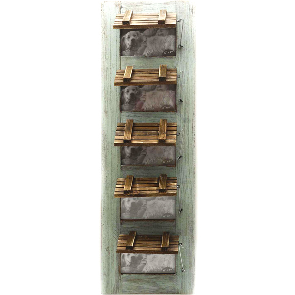 Five Tier Wooden Photo Frame with Olive Green Finish Paint