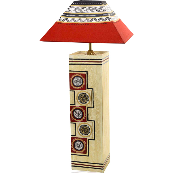 Hand Painted Wood Lamp Shade with Worli Painting