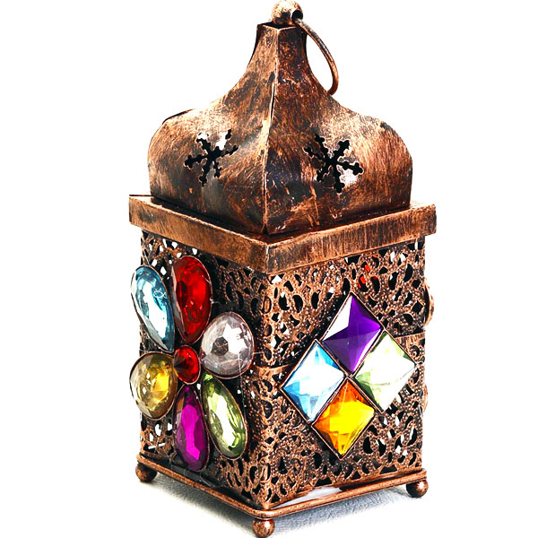 Copper Finish Gun Metal Tea Light Holder with Colored Glass Stone