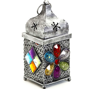 Candles & Candle Stands-Silver Finish Gun Metal Tea Light Holder with Colored Glass Stone