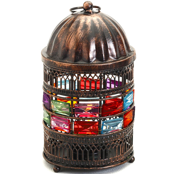 Round Copper Finish Lantern Tea Light Holder with Glass Stones