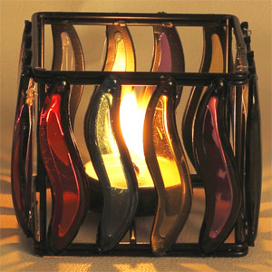 Candles & Candle Stands-Multi Color Glass Panes Square Wrought Iron Tea Light Holder