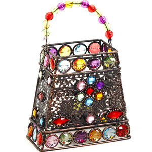 Candles & Candle Stands-Hand Purse Design Multi Color Wrought Iron Tea Light Holder
