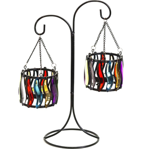 Candles & Candle Stands-Weight Balance Colored Glass Tea Light Holder