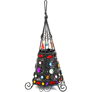 Candles & Candle Stands-Wrought Iron Teepee Design Tea Light Holder with Colored Glass