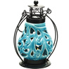 Floral Cut Light Blue Ceramic Wind Lantern Tea Light Holder
