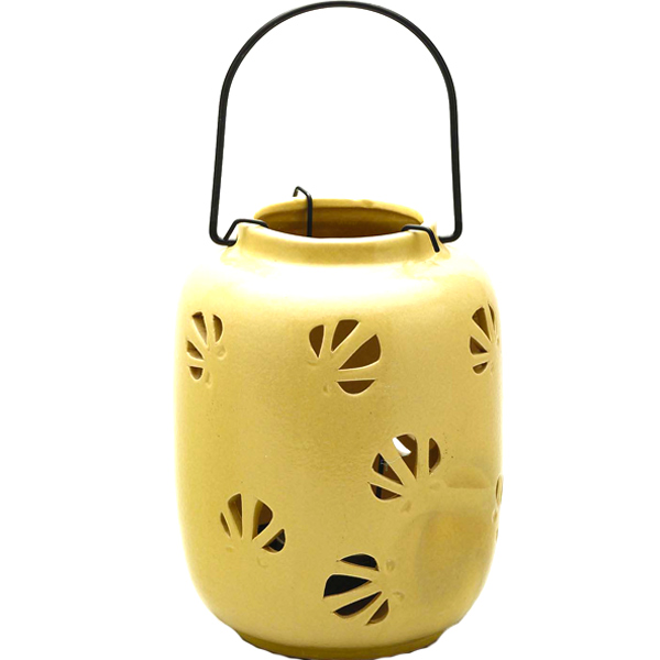 Mini Yellow Ceramic Hanging Enclosed Candle Holder