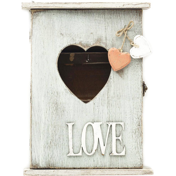 Vintage Retro Wooden Key Box with Love Lettering